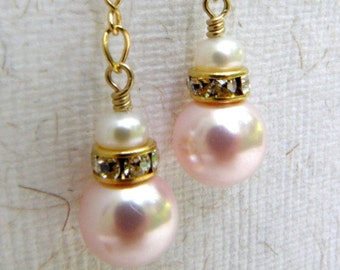 Pink Pearl Earrings, Bridesmaid Jewelry, Pink Dangle Earrings, Pink Wedding Jewelry, Bridal Party, Cubic Zirconia Posts, Gold Filled