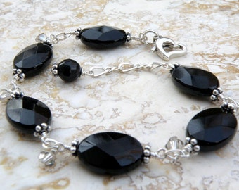 Black Onyx Bracelet, Sterling Silver, Natural Stone, Oval Gemstone, Chain and Link, Fall Winter Jewelry, Everyday Accessory Gift