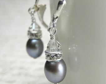 Silver Pearl Earrings, Freshwater, Sterling Silver, Drop, Wedding, Bridesmaid, Handmade Jewelry, June Birthday