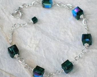 Emerald Green Crystal Bracelet, Sterling Silver, Dark Green Swarovski Cube, Bridesmaid Wedding Jewelry, Bridal Gift, May Birthday Birthstone