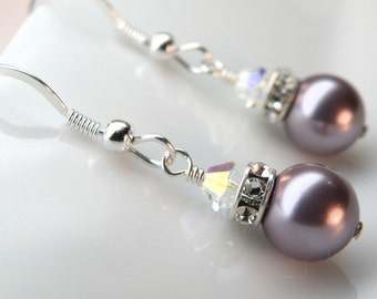 Drop Purple Pearl Earrings, Violet Lilac Swarovski, Sterling Silver, Bridesmaid Bridal Party Wedding Handmade Jewelry Gift, Spring Fashion