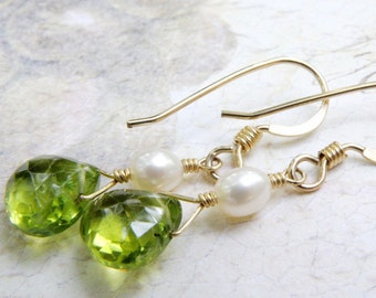Peridot Earrings, Gold Filled, Pearl Accent, Teardrop Green Gemstone, Drop Stone, Handmade Jewelry, August Birthday, Birthstone