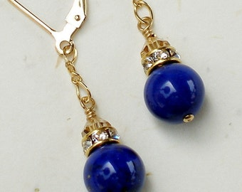 Lapis Lazuli Earrings, Blue Gemstone, Lapis Earrings, Bleu Stone, Dangle, Gold Filled, Wedding, Handmade Jewelry, September Birthday