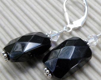 Onyx Earrings, Black Stone, Dangle, Rectangular, Gemstone, Sterling Silver Handmade Jewelry, Fall, Winter, Autumn