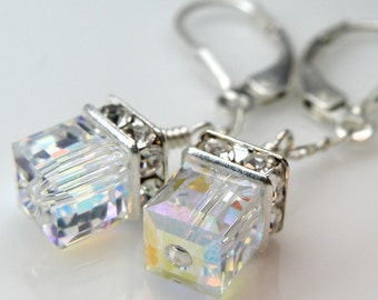 Petite Crystal Earrings, Cube, Sterling Silver, Clear Swarovski, Moonstone, Ice, Wedding, Junior Bridesmaid, Teen, Girl, Handmade Jewelry