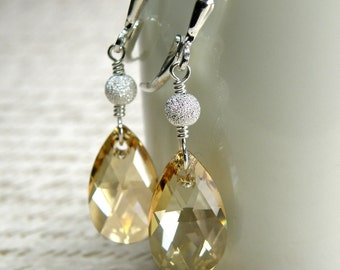 Champagne Crystal Earrings, Dangle, Tear Drop, Sterling Silver, Wedding, Bridal Party,