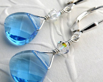 Aquamarine Blue Earrings, Crystal Swarovski Teardrop, Sterling Silver, Dangle, Sky Blue Topaz, Teal, Bridesmaid, Wedding, Handmade Jewelry