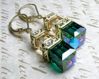 Emerald Green Earrings, Champagne Swarovski Crystal Cube, Gold Filled, Wedding Party Jewelry, Bridesmaid Earrings, May Birthday, Birthstone