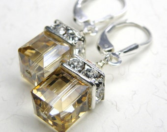 Yellow Crystal Cube Earrings, Sterling Silver, Champagne Swarovski Drop Dangle, Spring Wedding Jewelry, Bridesmaid Gift, November Birthday