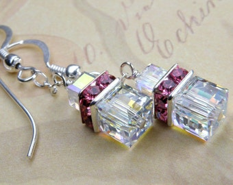 Pink and Clear Cube Earrings, Petite Swarovski Crystal Square, Rose Rhinestone, Sterling Silver Dangle, Summer Wedding Handmade Jewelry Gift