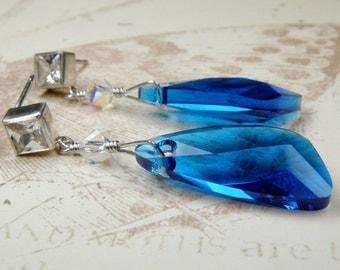 Electric Blue Earrings, Modern Crystal Earrings, Teal Swarovski Dangle Earrings, Handmade Geometric Jewelry Sterling Silver, Limited Edition
