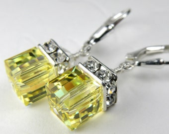 Lemon Yellow Crystal Earrings, Swarovski Crystal, Sterling Silver, Drop Bridesmaid Wedding Jewelry Spring Fashion Bridal Party Gift Handmade