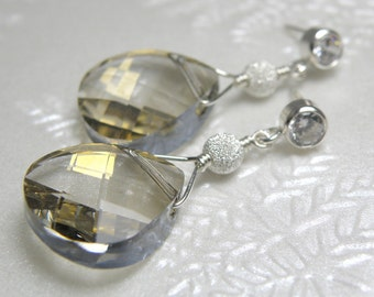 Statement Silver Earrings, Sterling Silver, Swarovski Crystal Teardrop, Large Dangle, Wedding Jewelry, Handmade New Years, Ready To Ship