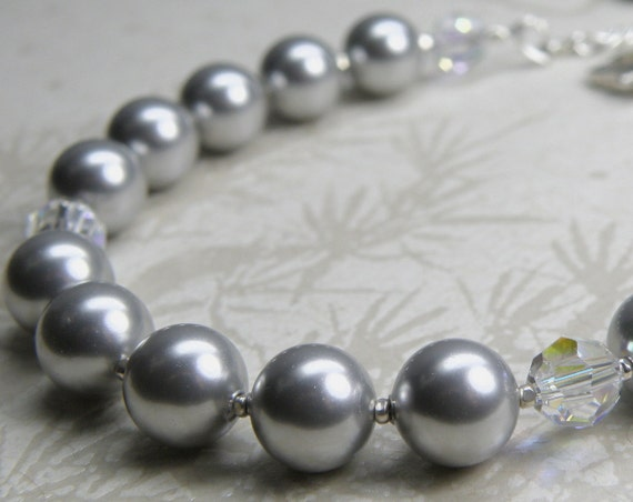 Gray Pearl Bracelet, Silver Bridesmaid Jewelry, Handmade Bridal Party Gift, Sterling Silver Clasp, Classic Grey Swarovski Crystal, Custom