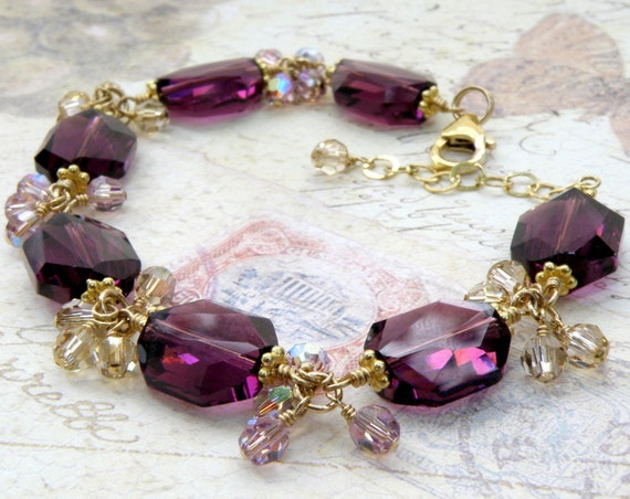 Modern Purple Crystal Bracelet, Gold Filled, Amethyst Swarovski Crystal, Cluster Beaded, Wedding Jewelry, February Birthday Gift, For Mom