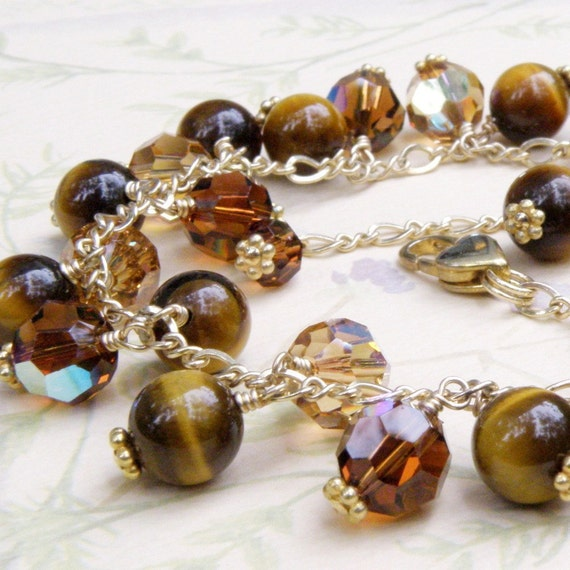 Tiger Eye Stone Bracelet, Gold Filled, Chocolate Brown Gemstone, Cluster Handmade Jewelry, Fall Fashion, Ready to Ship