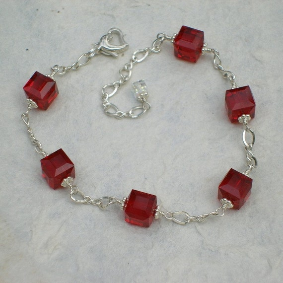 Red Garnet Crystal Bracelet, Sterling Silver, Bridal Party, Wedding, Bridesmaid, Handmade Jewelry January Birthday, Fall Fashion