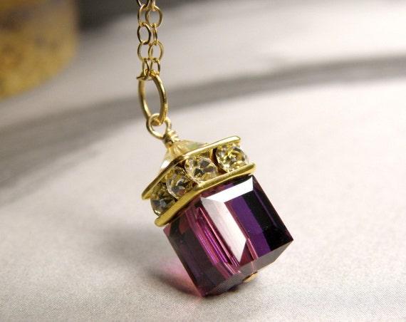 Amethyst Crystal Necklace, Purple Swarovski Cube Pendant, Gold Filled, Plum Eggplant Bridesmaid Wedding Handmade Jewelry February Birthstone