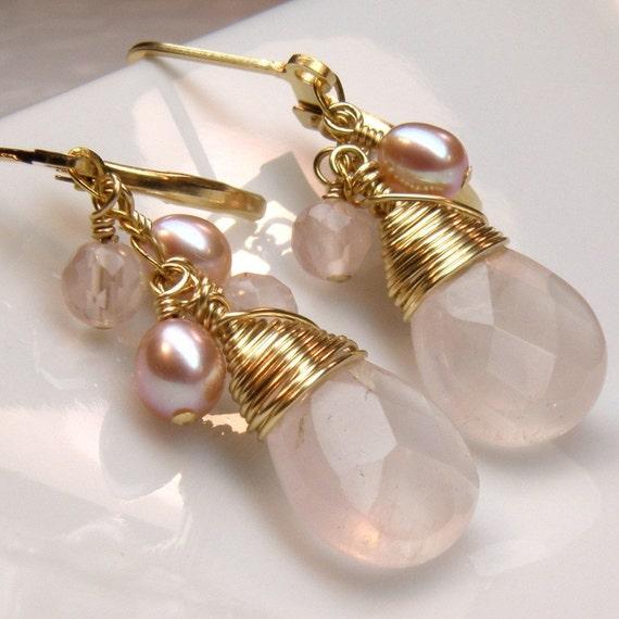 Rose Quartz Earrings Pink Earrings Gold Filled Light Pink