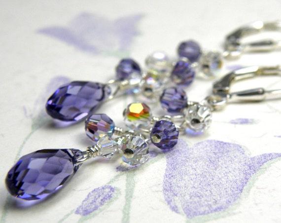 Purple Crystal Cluster Earrings, Swarovski Crystal, Sterling Silver, Tanzanite Dangle Earrings, Bridesmaid Wedding Jewelry, Handmade Gift
