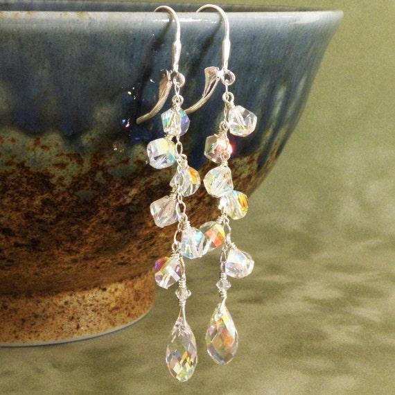 Swarovski Bridal Earrings, Long Dangle Earrings, Teardrop Crystal Wedding Earrings, Sterling Silver, Wedding Accessories, Handmade Jewelry