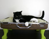 Upcycle - Suitcase Pet Bed - Green and Brown