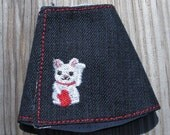 Blythe denim wrap skirt with lucky cat embroidery SALE