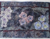 Blue Lavender Floral Quilted Art Wallhanging