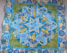 Teal Blue Kalidescope Lap Quilt,  Blanket, Wallhanging, Picnic Blanket, Wheelchair Blanket