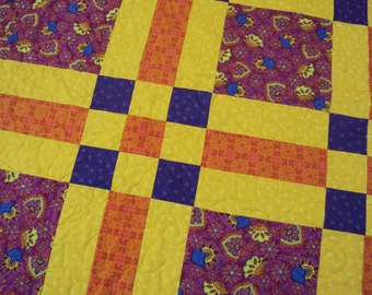 Patchwork Berry Queen Quilt - Picnic Blanket - Purple Yellow Orange