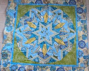 Teal Blue Kalidescope Lap Quilt,  Blanket, Wallhanging, Picnic Blanket, Wheelchair Blanket
