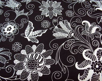 Black White Floral Fabric - 1/2 yd - Essentials VI - Studio e
