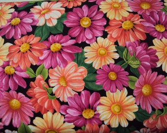 Black Daisy Fabric - Blossom -  Timeless Treasures