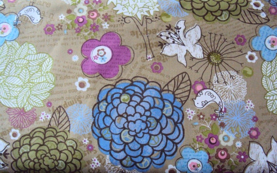 Brown Flower Fabric - Peaceful Planet -  1 yd - Studio e - Reg 7.99