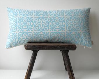 Moroccan Tile Slim Pillow in Aqua