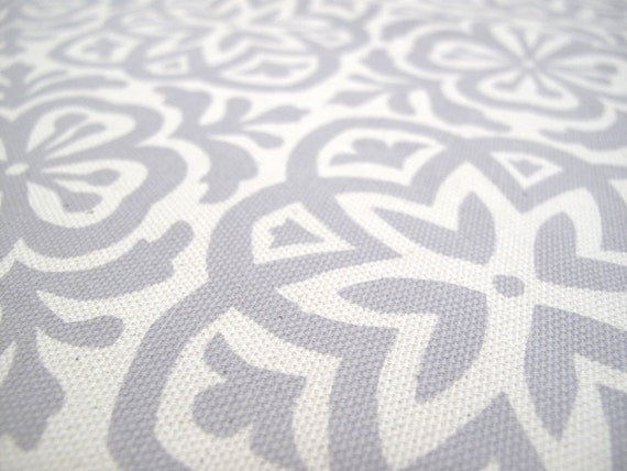 Moroccan Tile Fabric Fat Quarter, hand printed in Elephant Grey