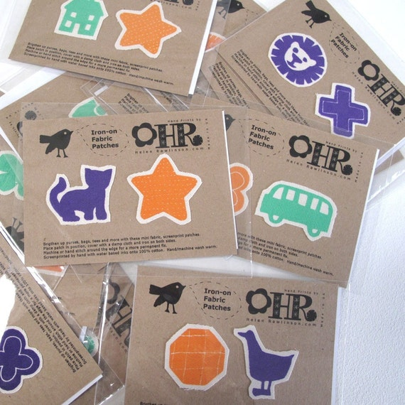 4 Packs Iron on Screenprint Fabric Patches, Lucky Dip
