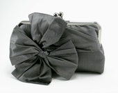 Bridesmaid Clutch Purse / Personalized Bridesmaid Gift / Gray Bow Clutch  {Classic Bow Clutch : Graphite}