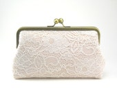 Antoinette Clutch : Ivory on Seashell Pink - Wedding Clutch - Lace Purse - Vintage Clutch - Bridal Purse