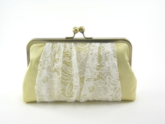 S A L E / Teatime Clutch : Ivory on Baby Yellow