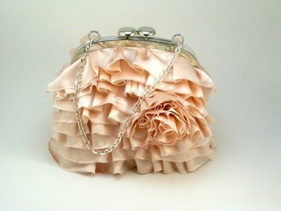 Spring Cleaning Sale - Tiered ROSE Clutch - Pearl Pink