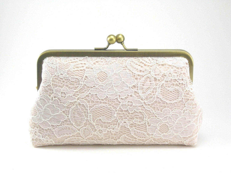Blush Clutch Wedding Purse Bridal Clutch Lace By DavieandChiyo