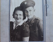 Vintage 1940s Happy Couple Photo in Fiberboard Folder
