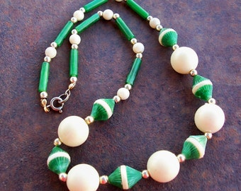 Cream and Green Vintage Necklace