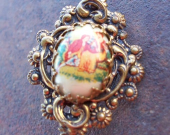Vintage Ornate Brooch with Garden Scene