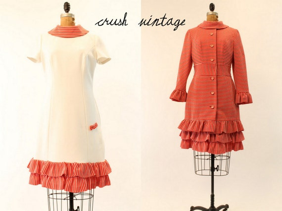 Vintage 60's Lilli Ann Dress Coat S-M  // Ruffled Red Dotted Dress and Coat Suit