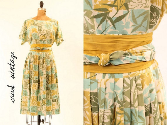 50s Dress M-L  /   Aqua Bamboo Full Skirt Obi Sash Dress