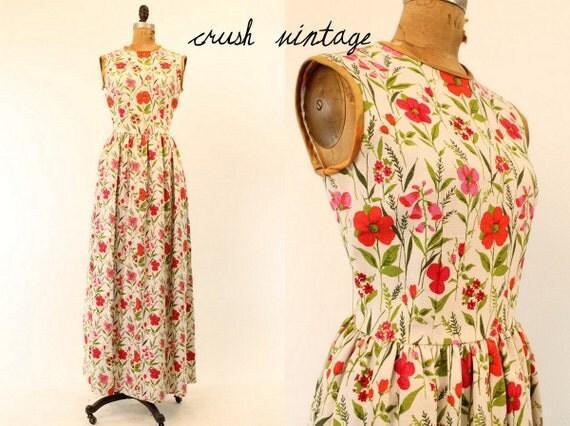 Vintage 60's Maxi Dress Small /  1960s Linen Gown / Windblown Flowers Dress