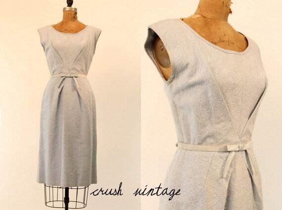 50's Dress Small  /  1950s Vintage Cotton Dress /  Folded Front Envelope Dress