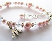 Baby gift, Baby bracelet with an initial...flower girl baby newborn  toddler girl personalized light pink pearl and crystal bracelet